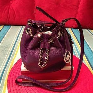 Authentic Michael Kors purple leather crossbody ba